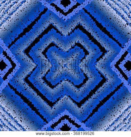 Stippled Halftone 3d Vector Seamless Pattern. Textured Grunge Ornamental Half Tone Blue Background.
