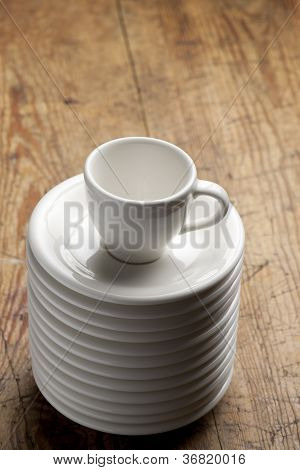 Coffee cup on saucers.