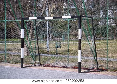 Detail Of A Small Football Playfield And Goal Frame For Recreative Amateur Games