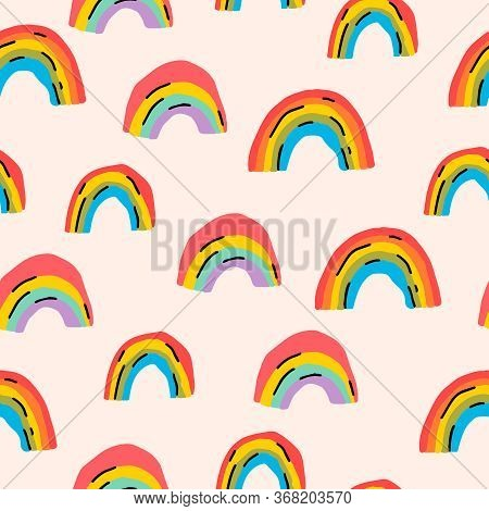 Trendy Colorful Aesthetic Rainbows Seamless Pattern. 90s Abstract Background. Bright Simple Scandina