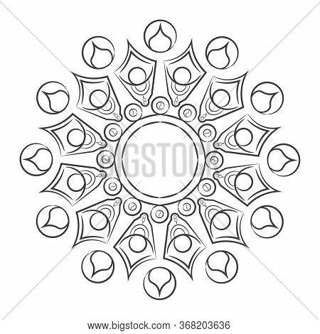 Isolated Floral Pattern Mandala Outline - Vector Illustration