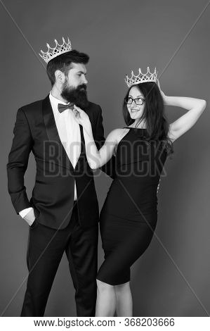 Elite Society. Being Recognised And Proud. Proud Couple. Woman And Bearded Man Wear Crowns. Selfish