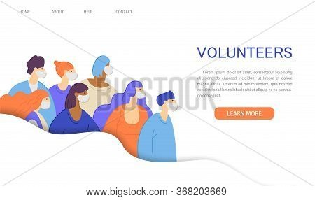 Volunteer Movement, Charity And Help Of The Coronavirus Epidemic Website Landing Page. Group Of Mult
