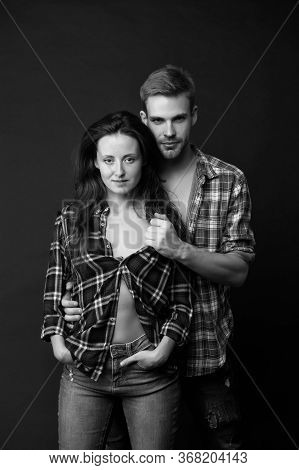 Happy Valentines Day. Man And Girl Passionate Couple. Couple In Love. Sexy Couple Taking Off Shirts.