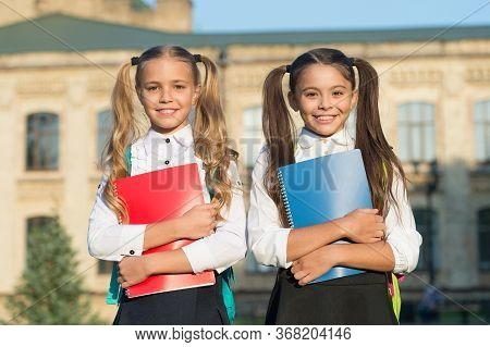 Life Is Better With True Friends. School Friends Hold Books. Happy Friends Back To School. Adorable