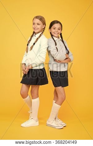 First School Day. Sisterhood And Friendship. Cheerful Mood Concept. School Friendship. Support And F
