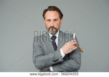 Retro Style Shaving. Businessman Hold Retro Razor. Bearded Man In Formalwear Grey Background. Retro