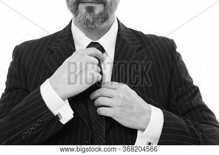 Fashion Accessory For Busy Man. Male Hands Tie Necktie, Selective Focus. Formal Necktie Accessory. S