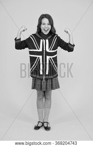 Learn English Language. British Accent. Great Britain Flag. International Exchange. Girl School Unif