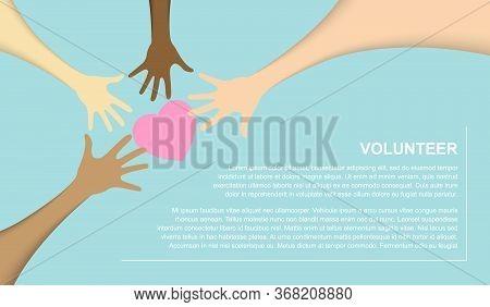 Team Teamwork Business Join Hand Together Concept, Power Of Volunteer Charity Work, Vector Illustrat