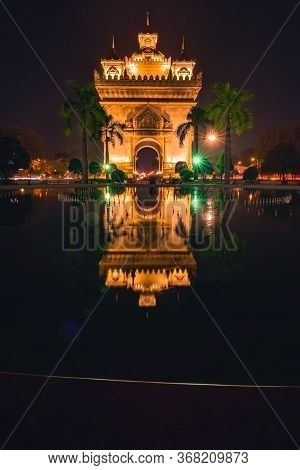 Victory Gate Patuxai War Memorial At Night  Vientiane Laos