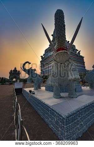 Feb 11th 2019 Vientiane ,laos Porcelain Elephant Statue Made From Cups, Saucers, Plates, Spoons And