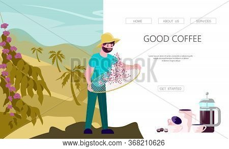 Landing Web Page Template With Asian Male Coffee Farmer Characters Hold Basket With Mature Coffee Be