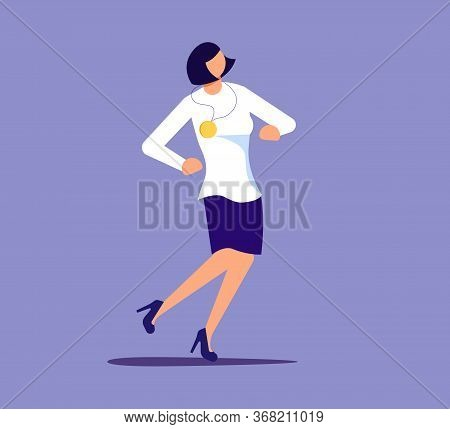 Proud Woman Is Showing Self-confidence And Assurance By His Pose. Isolated On Purple. Flat Art Vecto
