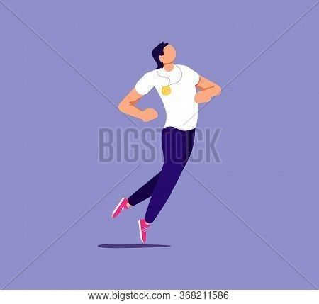 Proud Man Is Showing Self-confidence And Assurance By His Pose. Isolated On Purple. Flat Art Vector