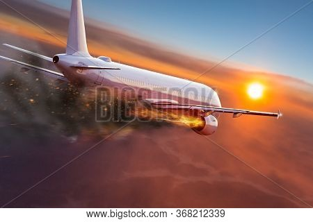 flying aircraft with exploding aero engine just before air crash