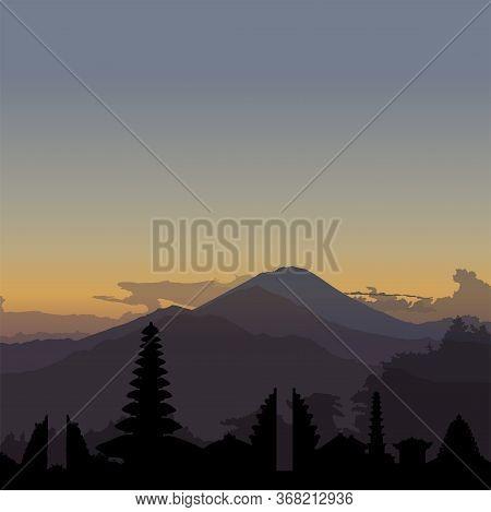 Kintamani, Bali. Vector Sunrise Illustration With Skyline