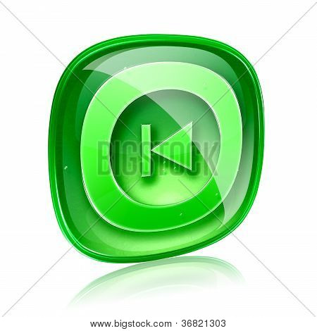 Rewind Back Icon Green Glass, Isolated On White Background.