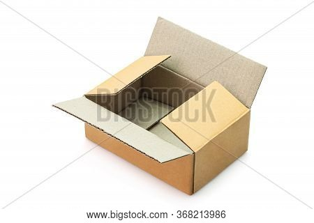 Empty Open Cardboard Box Isolated On White Background. Clipping Path Include.