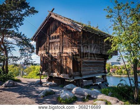 Old wooden house in Skansen Park in Sweden