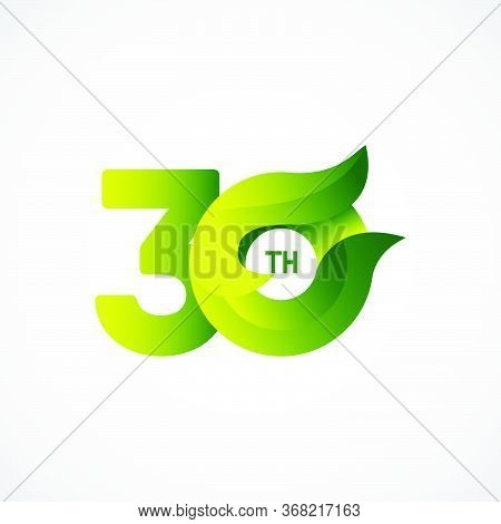 30 Th Anniversary Celebrations Green Gradient Vector Template Design Illustration