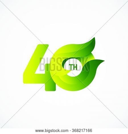 40 Th Anniversary Celebrations Green Gradient Vector Template Design Illustration