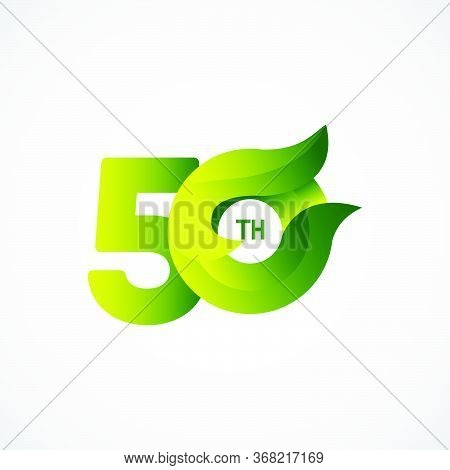 50 Th Anniversary Celebrations Green Gradient Vector Template Design Illustration