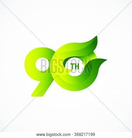 90 Th Anniversary Celebrations Green Gradient Vector Template Design Illustration