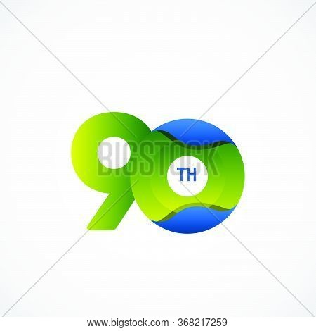90 Th Anniversary Celebrations Green Blue Gradient Vector Template Design Illustration