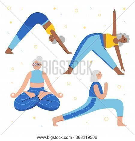 Set Of Old Women Performing Yoga Exercises At Home. Senior Ladies In Different Isolated Poses. Matur