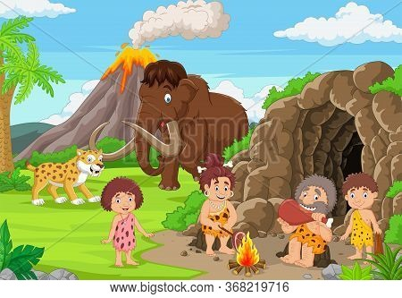 Vector Illustration Of Cartoon Ancient Cavemen In Stone Age With Mammoth And Sabertooth
