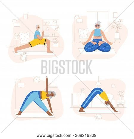 Set Of Happy Seniors Performs Yoga Exercises At Home. Old Or Mature Male And Female Cartoon Isolated