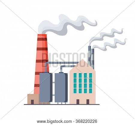 Factori or power plant flat design of illustration. Manufactory industrial building refinery factory or Nuclear Power Station. Building big of plant or factory with pipe smoke