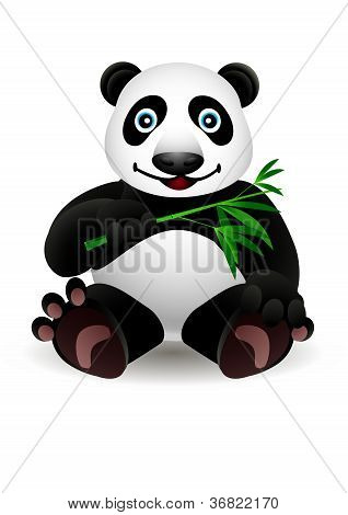 little cartoon panda and bamboo