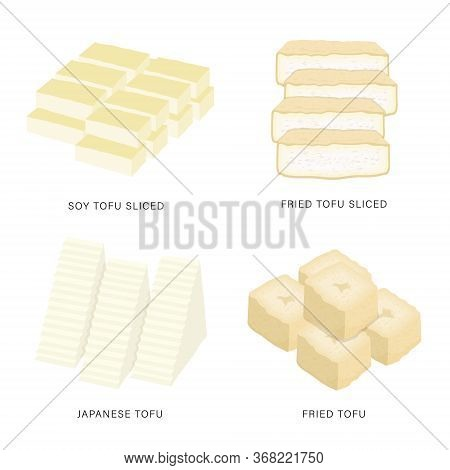 Set Of Fresh Tofu And Bean Curd Slices. Organic And Healthy Food Isolated Element Vector Illustratio