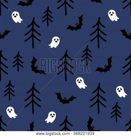 Halloween Seamless Pattern. Terrible Forest, Ghosts, Bats. Halloween Background With Terrible Forest