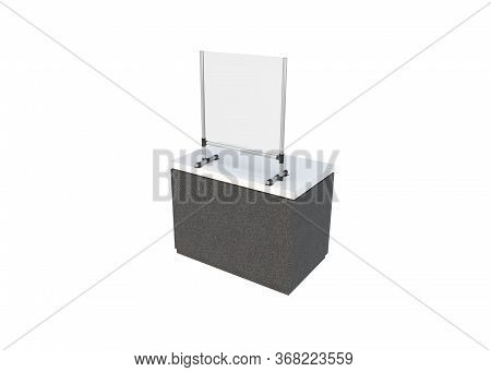 3d Render Of Sneeze Or Droplet Guard As Attachment On A Counter Or Desktop Free-standing On White Ba