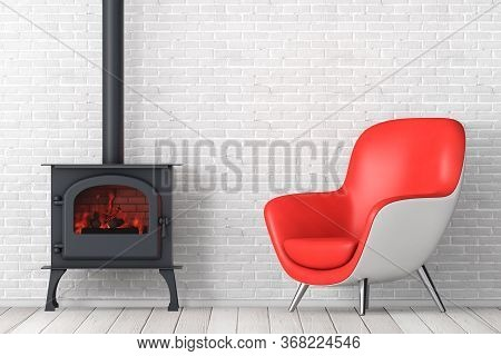 Modern Red Leather Oval Shape Relax Chair With Classic Оpen Home Fireplace Stove With Chimney Pipe A