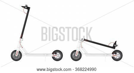 Folded White Modern Eco Electric Kick Scooter On A White Background. 3d Rendering