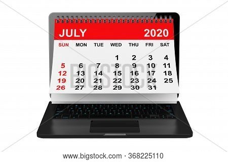 2020 Year Calendar. July Calendar Over Laptop Screen On A White Background. 3d Rendering