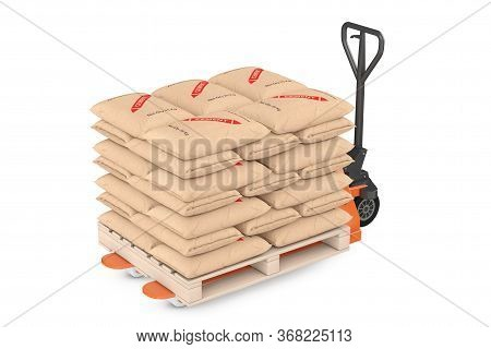 Hand Pallet Truck Jack With Stack Of Paper Sacks Cement Bags On A White Background. 3d Rendering