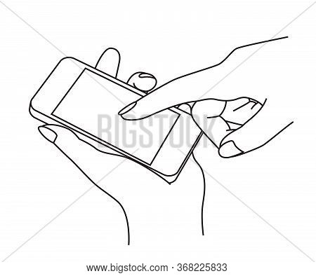Holding And Using A Cell Phone (mobile Phone) At A Hand, Line Illustration, Graphic Element