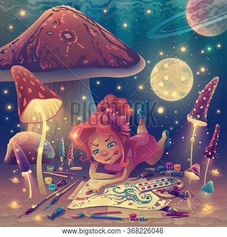 Cartoon Personage As Artist In Fantasy Mushroom Garden With Painter Tools, Painting Illustrator Girl