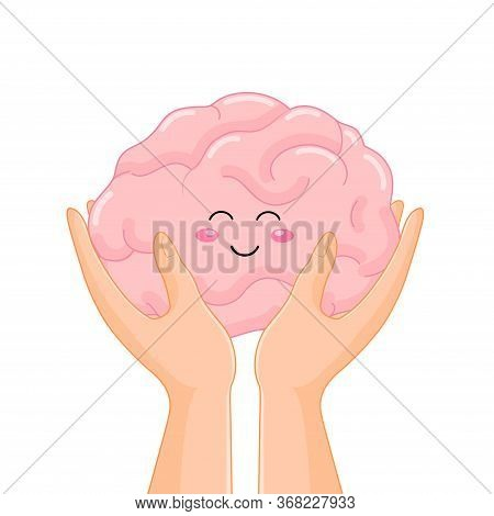 Hand Holding Human Organ, Brain. Health Protection Concept. Vector Illustration Isolated On White Ba
