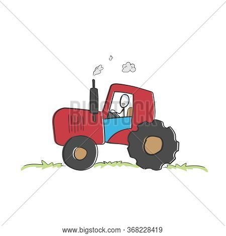 Driving A Tractor On Farm. Happy Tractorist. Farming And Agriculture. Hand Drawn. Stickman Cartoon.