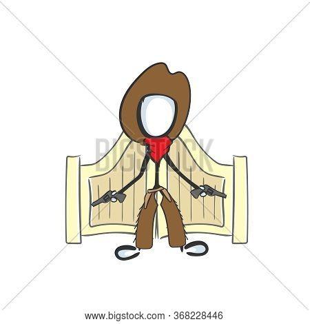 Wild West Gangster Robber Infront Of Tavern. Gunman With Revolver Guns. Hand Drawn. Stickman Cartoon