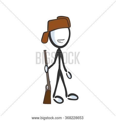 Woodsman, Forester With A Gun. Happy Hunter. Hand Drawn. Stickman Cartoon. Doodle Sketch, Vector Gra