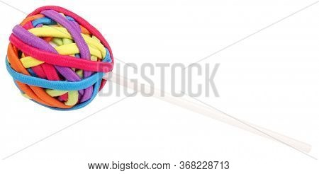 Rubber bands for hair colorful ball on stick