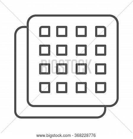 Square Cookies Thin Line Icon, Confectionary Concept, Crispy Biscuit Cookie Sign On White Background