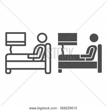 Stay In Bed With Flu Line And Solid Icon, Home Treatment In Covid-19 Concept, Sick Man Lying In Bed